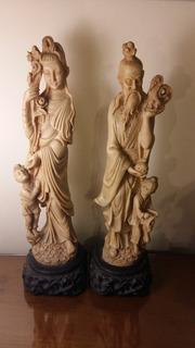 Estatuas Antiguas Chinas Selladas Marfilina Impecables 35 Cm