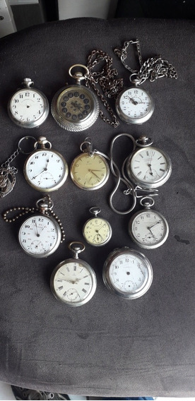 Lote De Relógios De Bolso Antigos Coleção 11 Pçs Raridade