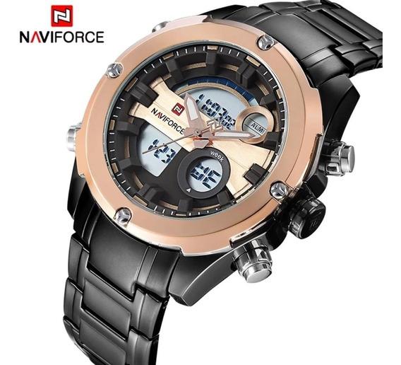 Relógio Masculino Naviforce Esportivo Militar Pulseira Luxo Aço Racer Premium Analogico Digital Original Promoção 9088