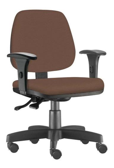 Cadeira Giratória Job Escritório Couro Sintético Camel