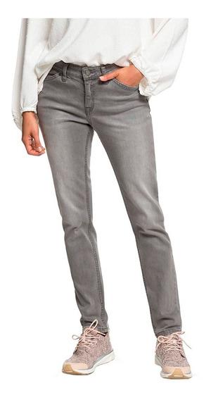 Jeans Mujer Pantalón Corte Ajustado Gris Deslavado Roxy