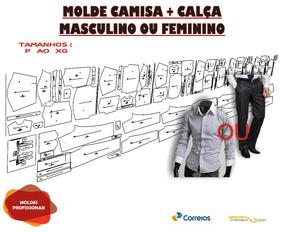 Kit Molde Camisa +calça Social Mas. Ou Fem. P Ao Xg Frt Gr