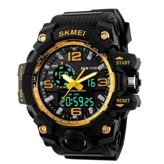 Relógio Masculino S-shock Dourado Original Resistente A Água