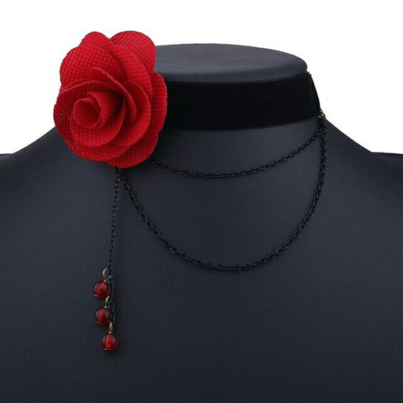 Choker Colar De Veludo Preto Com Flor Vermelha Em Tecido