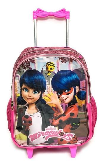 Mochila Infantil Escolar De Rodinhas Miraculous Ladybug
