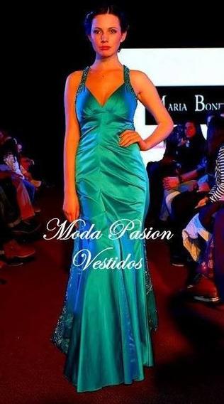 Vestido Fiesta Sirena Bordado Espalda Sensual Moda Pasion