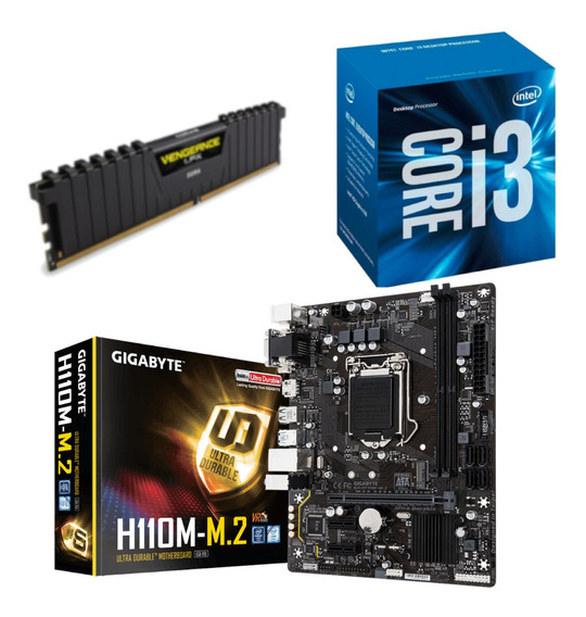 Kit Intel I3 7100 + Gigabyte H110m M2 + Vg 4gb 2400