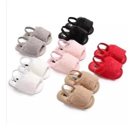 Chinelinho De Bebe Peludinha Moda Baby Kit 2 Unid