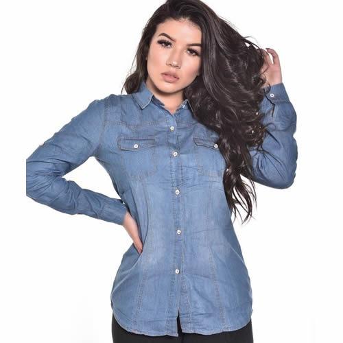 3 Camisa Jeans Feminina Camiseta Blusa Manga Longa514-3c
