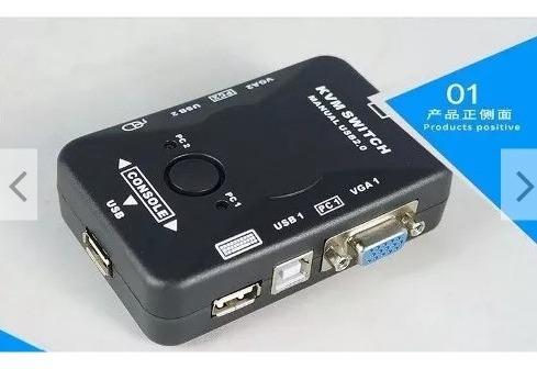 Switch Kvm 2 Puertos Usb Vga Monitor Teclado Mouse Impresora