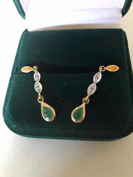 Brincos Ouro18k C/2 Esmeraldas- 4/brilhantes