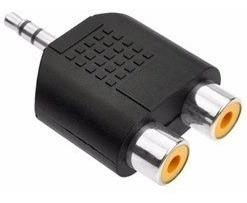 Plug Adaptador 2 Rca Fêmea X P2 3,5mm Macho Áudio Som Vídeo Av Tv Plugue Conetor Conector Jack Cinza Ceniza Preto Stereo