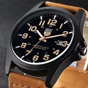 Relógio Militar Masculino Soki Pulseira Couro Frete Grátis
