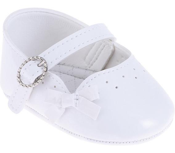 Sapato Batizado Menina Verniz Branco