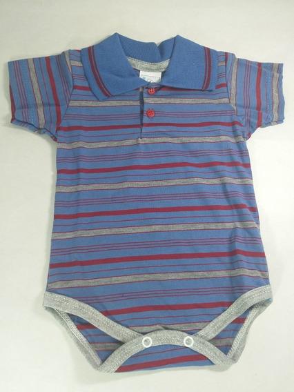 Body De Bebê Gola Polo Menino P Manga Curta (100%algodão)