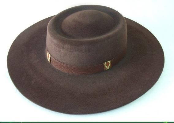 Chapéu Campeiro Cor Marrom Aba 10 Cm + Barbicacho Flocado
