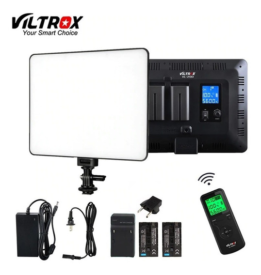 Iluminador De Led Viltrox Vl-200 C/ Contr. Remoto+2 Bat.f750