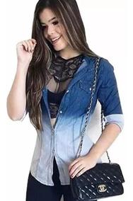 Camisa Jeans Degrade Duas Cores Blusa Casual Feminina