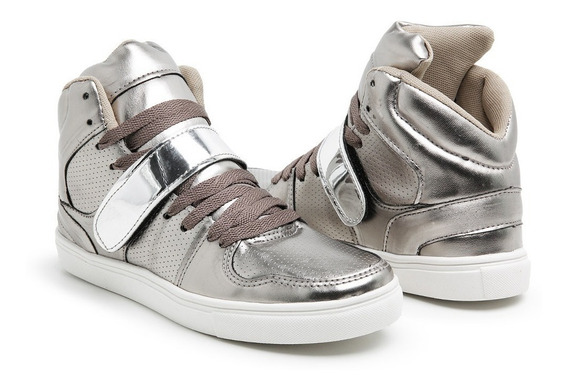 Tênis Feminino Botinha Fitness Prata Sneakers