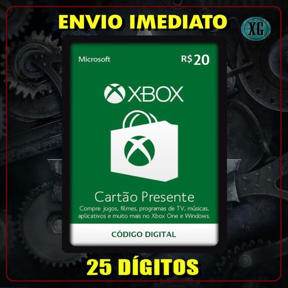 Xbox Gift Card 20 Reais Código 25 Dígitos [xbox Live]