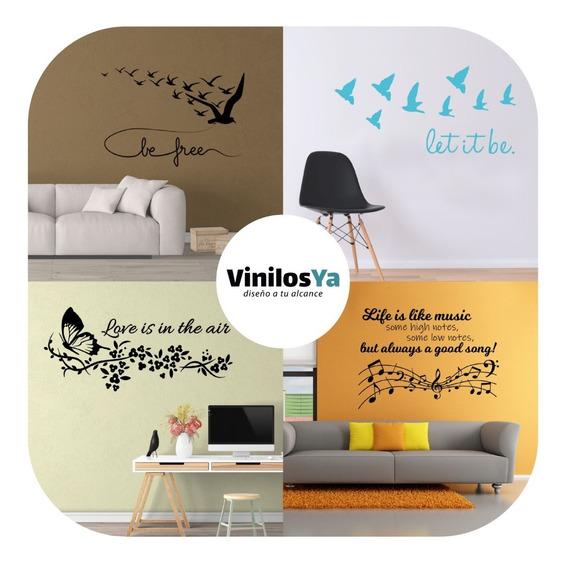 Vinilos Decorativos Pared Frases Musica Pajaros Empresa Love