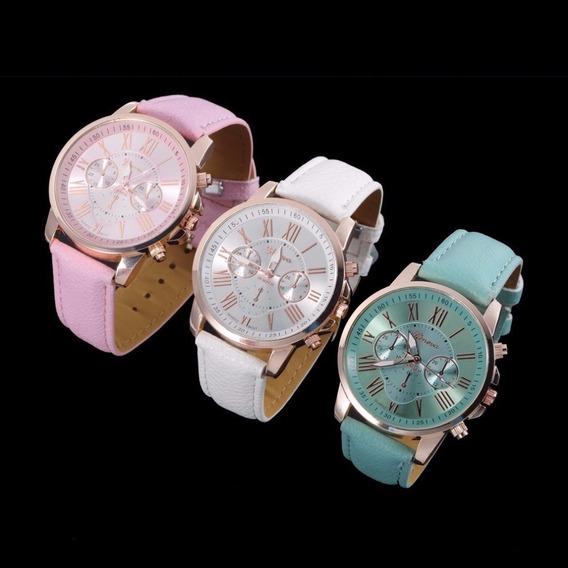 Relógio Feminino Caixa Dourada Geneva Novo Pct Com 03 Unds
