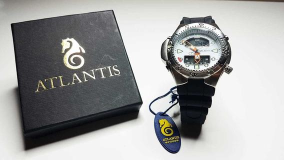 Relógio Atlântis Modelo Jp1060 Aqualand Branco