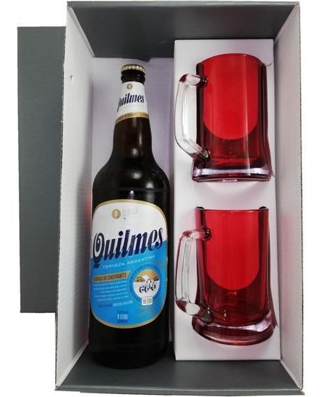 Caja Estuche P/ 1 Botella De Cerveza Y 2 Chops En Rojo