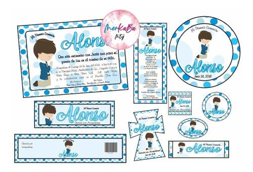 Invitaciones Primera Comunión Niño Kit Imprimelo Tú!!