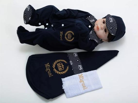 Kit Maternidade Personalizado C/toalhinha Tamanho Unico Azul