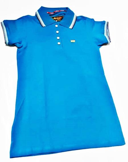 Polo Feminina Laço Azul Turquesa Botões Lisa Malha 111