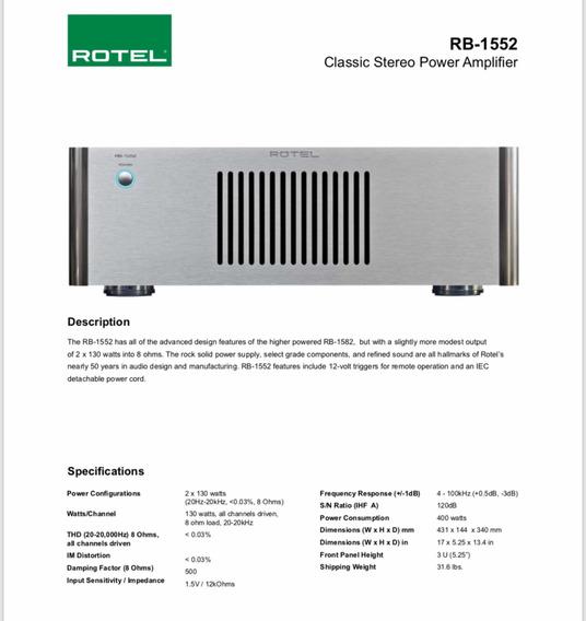 Amplificador Stereo Rotel Rb-1552 Ótimo Estado