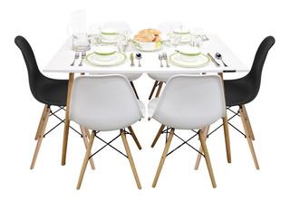 Mesa Comedor Eames Y 6 Sillas Blanca Minimalista Rectangular