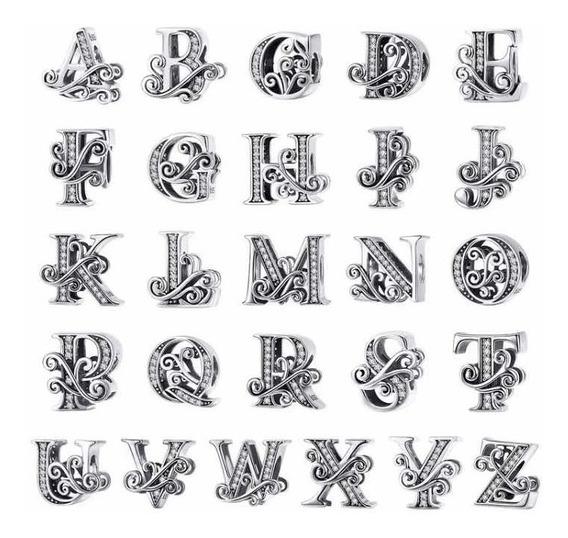 2 Charms Letras Dijes Nombres Iniciales Para Pandora