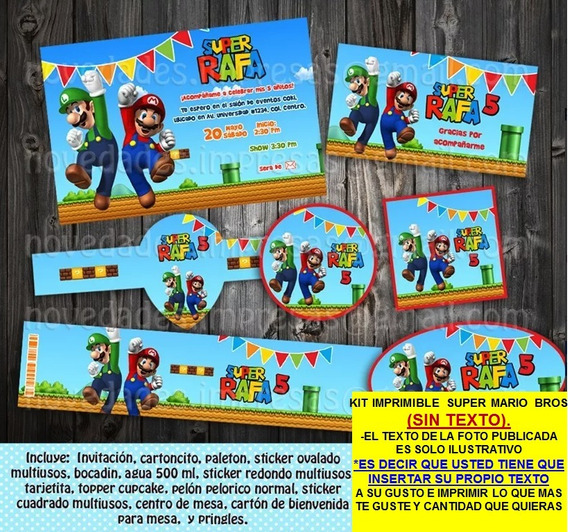 Kit Imprimible Super Mario Bros Sin Texto Promo 2x1