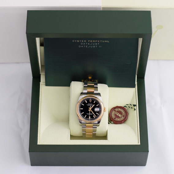 Rolex Datejust 36 Aço E Ouro 18k Mostrador Preto C/ Bezel De Ouro 18k I Relógio Masculino Original