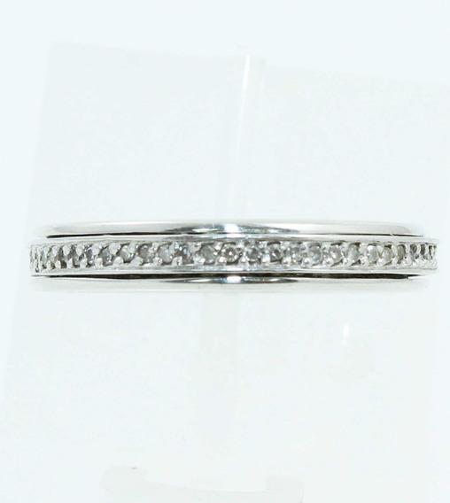 Pocao2005- Anel Ouro Branco 18k Diamantes 12x S/j Ft/gt 1800