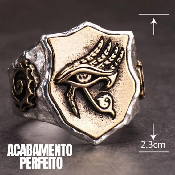 Anel Olho Hórus Banhado Em Ouro Cruz Egípcia Prata 925