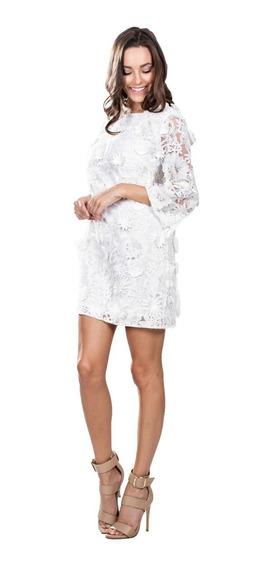 Vestido De Cotel Ark & Co. Con Encaje Floral En Blanco