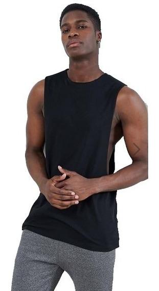 Regata Cavada 100% Algodão Cortada Fitness Academia Camiseta