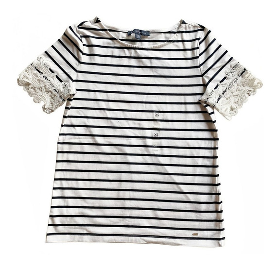 Remera Tommy Hilfiger Rayada Con Encaje Extra Small