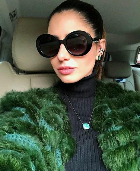 Óculos Escuros Feminino Proteção Uv Preto Formato Grande Top