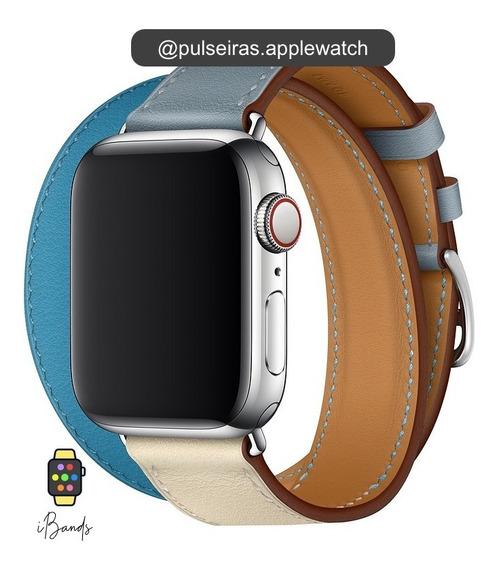 Pulseira Couro Apple Watch Double Tour Logo Hermès