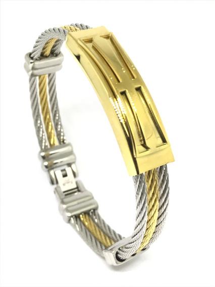 Pulseira Masculina Bracelete Aço Inox Banhada A Ouro 18k