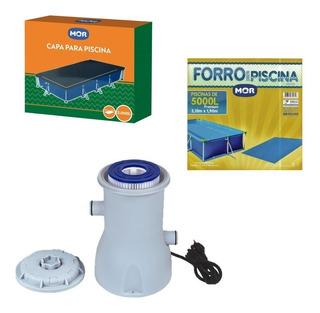Kit Capa E Forro + Filtro Bomba Para Piscina 5000 L - Mor