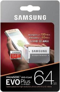 Cartao Samsung Micro Sd Evo Plus 64gb 100mbs U3 Lacrado
