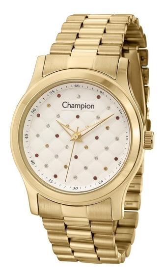 Relógio Champion Feminino Dourado Wr 50 Metros Cn27974h