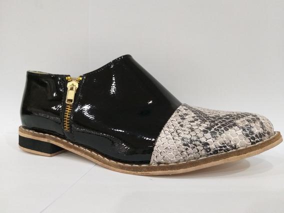 Zapato Charrito Bota Botineta Mujer Texana Reptil Charol
