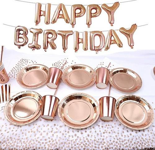 Imagen 1 de 4 de Kit Globos Oro Rosa Metalicos Vajilla Fiesta Cumpleaños