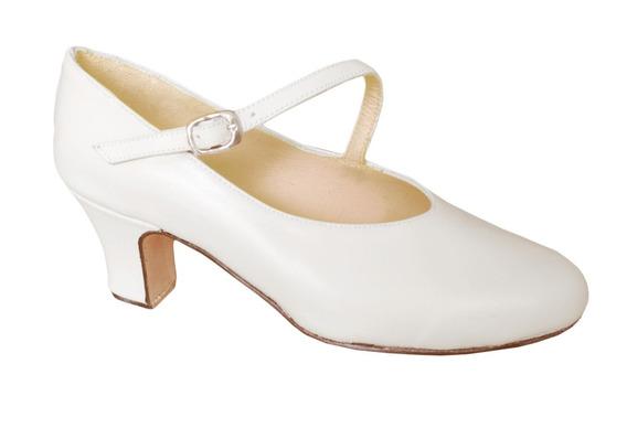 Zapato Español Profesional Blanco - Folklore - Cuero